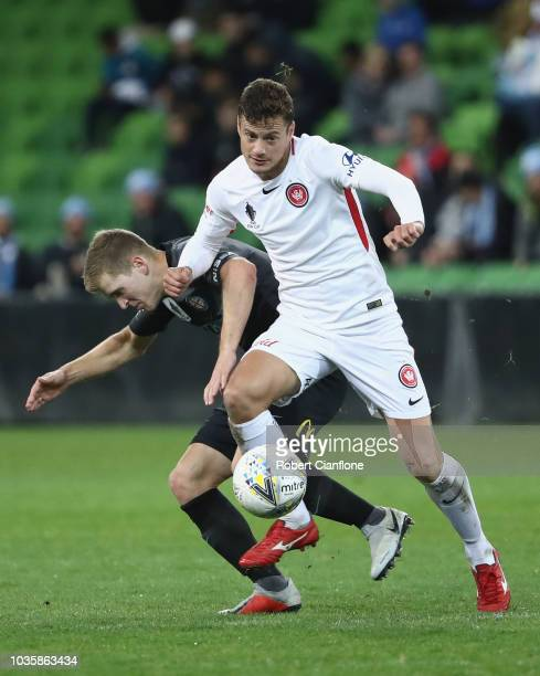 Oriol Riera Magem of the Wanderers controls the ball during the FFA Cup quarterfinal match between Melbourne City and Western Sydney Wanderers at...