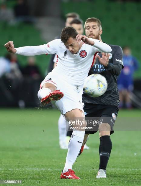 Oriol Riera Magem of the Wanderers kicks the ball during the FFA Cup quarterfinal match between Melbourne City and Western Sydney Wanderers at AAMI...