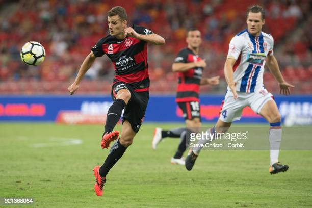 Oriol Riera of the Wanderers brings down the ball during the round one ALeague match between the Western Sydney Wanderers and the Newcastle Jets at...