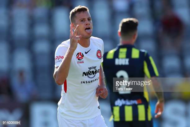 Oriol Riera of the Wanderers celebrates a goal during the round 19 A-League match between the Central Coast Mariners and the Western Sydney Wanderers...