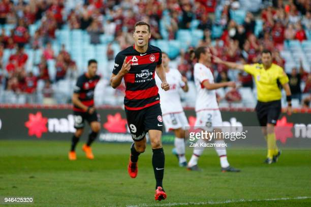 Oriol Riera of the Wanderers celebrates after scoring a goal from the penalty spot during the round 27 ALeague match between the Western Sydney...