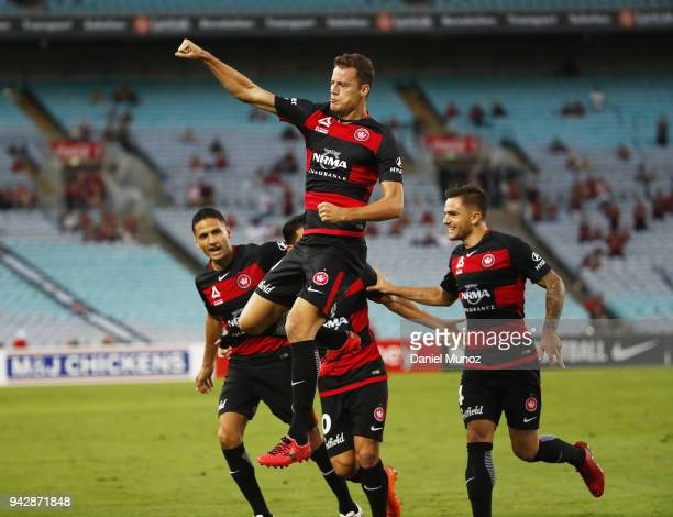 Oriol Riera of the Wanderers celebrates after scoring during the round 26 ALeague match between the Western Sydney Wanderers and the Brisbane Roar at...