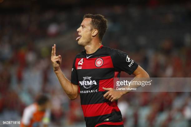 Oriol Riera of the Wanderers celebrates after scoring his second goal during the round 26 ALeague match between the Western Sydney Wanderers and the...