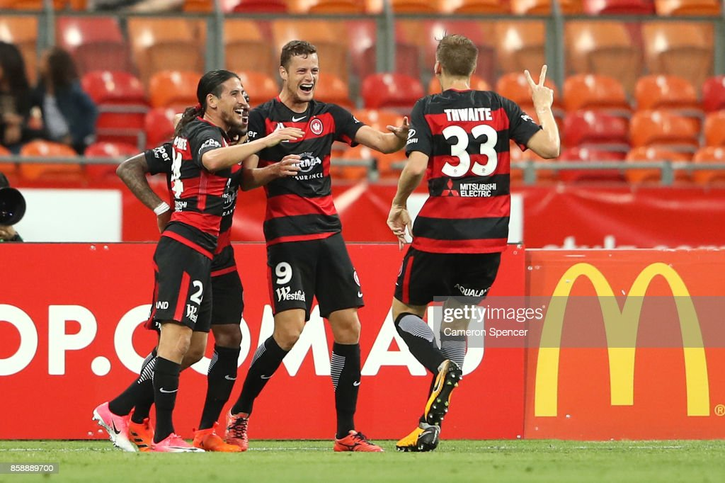 Oriol Riera of the Wanderers celebrates kicking a goal during the round one A-League match between the Western Sydney Wanderers and the Perth Glory at Spotless Stadium on October 8, 2017 in Sydney, Australia.