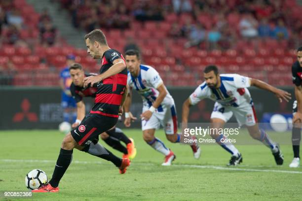 Oriol Riera of the Wanderers celebrates kicking a goal during the round one ALeague match between the Western Sydney Wanderers and the Newcastle Jets...