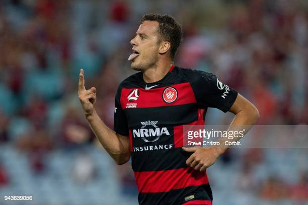 Oriol Riera of the Wanderers celebrates scoring a goal during the round 26 ALeague match between the Western Sydney Wanderers and the Brisbane Roar...