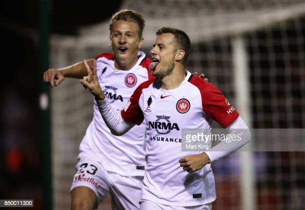 Oriol Riera of the Wanderers celebrates scoring a goal in extra time during the FFA Cup Quarterfinal match between Blacktown City and the Western...