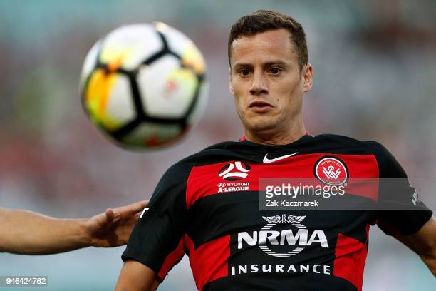 Oriol Riera of the Wanderers competes for the ball during the round 27 ALeague match between the Western Sydney Wanderers and Adelaide United at ANZ...
