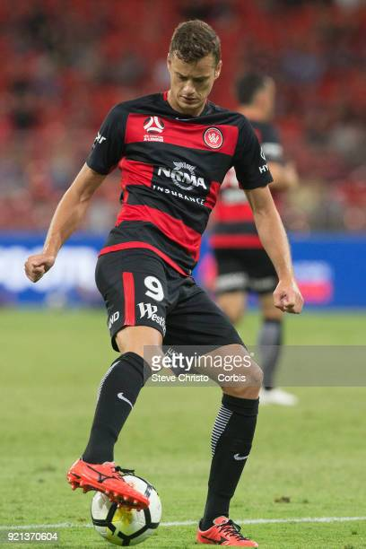 Oriol Riera of the Wanderers dribbles the ball during the round one ALeague match between the Western Sydney Wanderers and the Newcastle Jets at...