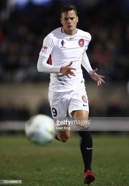 Oriol Riera of the Wanderers follows the ball during the FFA Cup round of 16 match between Bonnyrigg White Eagles FC and Western Sydney Wanderers at...