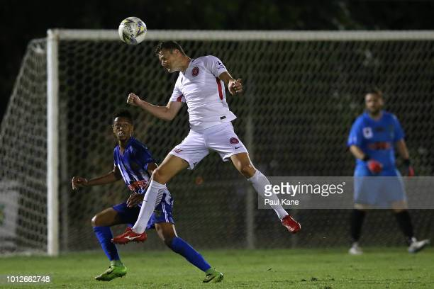 Oriol Riera of the Wanderers heads the ball during the FFA Cup round of 32 match between Hellenic AC and Western Sydney Wanderers at Darwin Football...