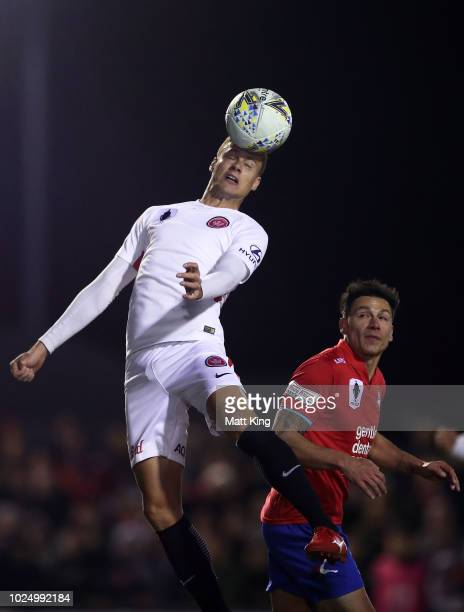 Oriol Riera of the Wanderers heads the ball during the FFA Cup round of 16 match between Bonnyrigg White Eagles FC and Western Sydney Wanderers at...