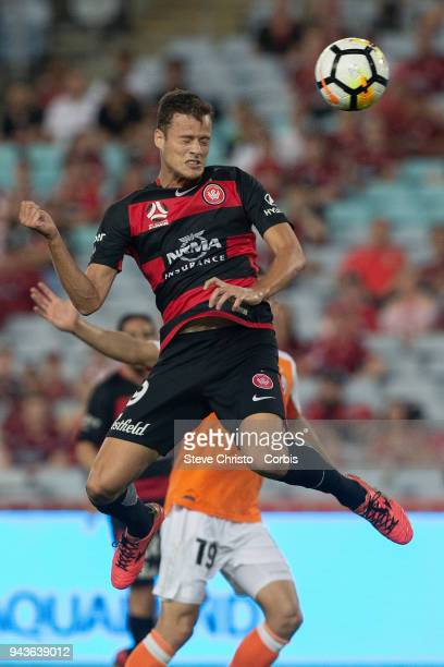 Oriol Riera of the Wanderers heads the ball towards goal during the round 26 ALeague match between the Western Sydney Wanderers and the Brisbane Roar...