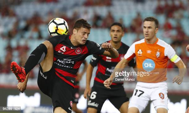 Oriol Riera of the Wanderers kicks the ball during the round 26 ALeague match between the Western Sydney Wanderers and the Brisbane Roar at ANZ...