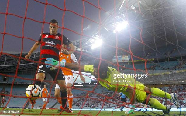 Oriol Riera of the Wanderers scores his second goal during the round 26 ALeague match between the Western Sydney Wanderers and the Brisbane Roar at...