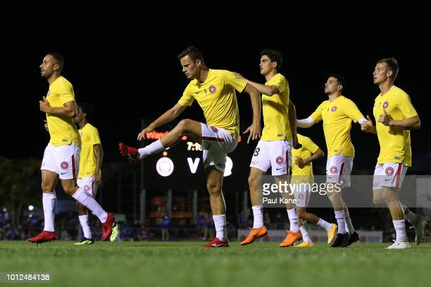Oriol Riera of the Wanderers warms up before the FFA Cup round of 32 match between Hellenic AC and Western Sydney Wanderers at Darwin Football...