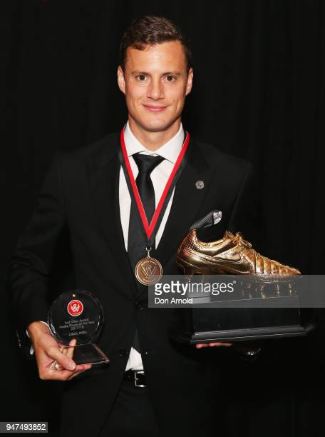Oriol Riera poses with his awards for ALeague Player of the Year Media Award and Golden Boot during the Wanderers Medal 2018 on April 17 2018 in...