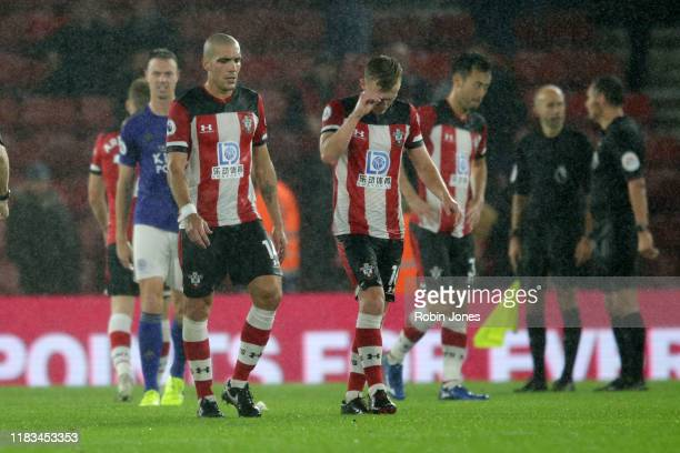 Oriol Romeu and James Ward-Prowse of Southampton after their sides 9-0 defeat during the Premier League match between Southampton FC and Leicester...
