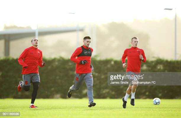 Oriol Romeu Dusan Tadic James WardProwse of Southampton FC during a training session at Staplewood Complex on January 4 2018 in Southampton England