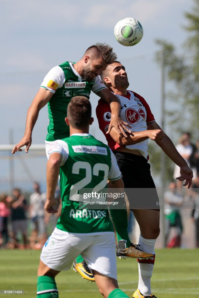 Oriol Romeu from FC Southampton and Peter Tschernegg from St. Gallen in action during the pre-season friendly match between FC Southampton and St. Gallen at Sportanlage Kellen on July 15, 2017 in Goldach, Switzerland.
