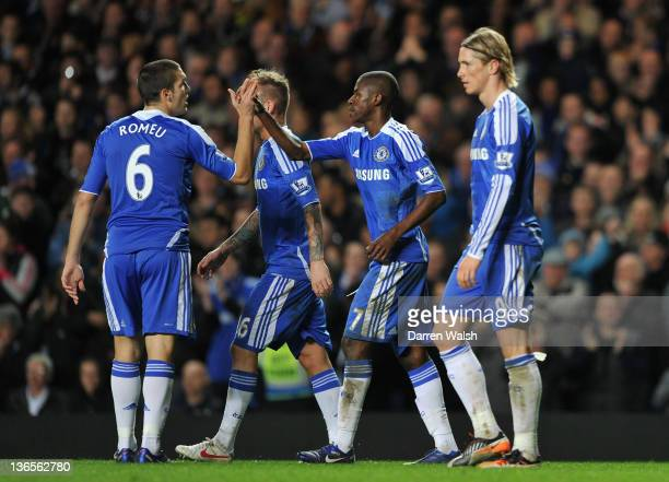 Oriol Romeu of Chelsea congratulates Ramires of Chelsea on scoring their second goal during the Budweiser sponsored FA Cup third round match between...