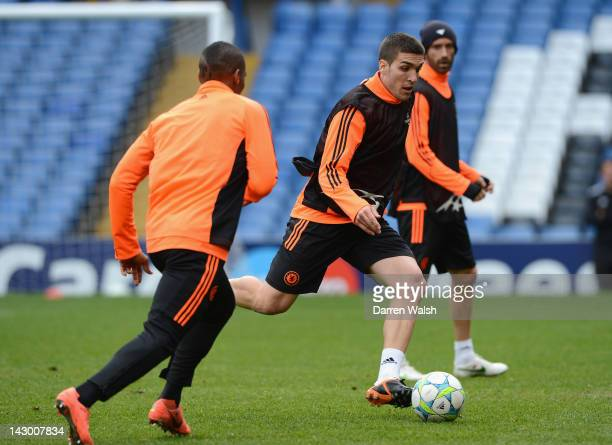 Oriol Romeu of Chelsea during a training session ahead of the UEFA Champions League semi final first leg match between Chelsea and Barcelona at...