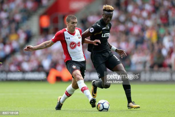 Oriol Romeu of Southampton and Tammy Abraham of Swansea City battle for possession during the Premier League match between Southampton and Swansea...