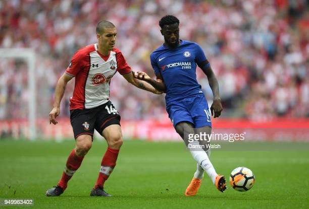 Oriol Romeu of Southampton and Tiemoue Bakayoko of Chelsea during The Emirates FA Cup Semi Final match between Chelsea and Southampton at Wembley...