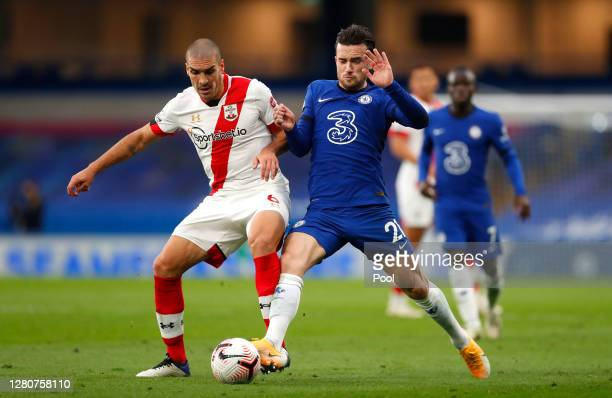 Oriol Romeu of Southampton battles for possession with Ben Chilwell of Chelsea during the Premier League match between Chelsea and Southampton at...