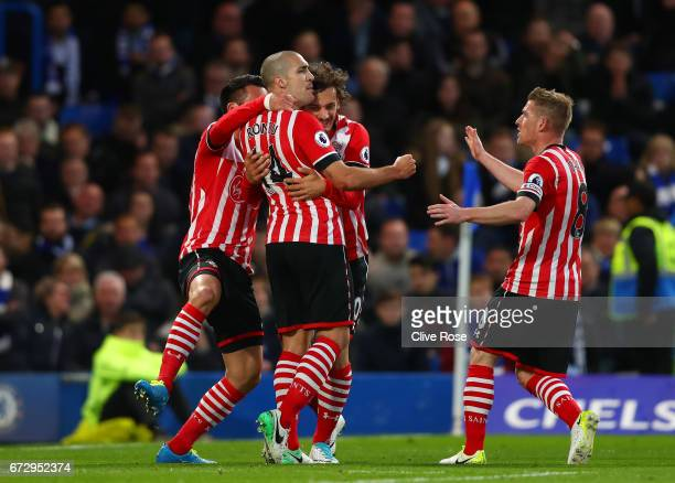 Oriol Romeu of Southampton celebrates as he scores their first goal with team mates during the Premier League match between Chelsea and Southampton...