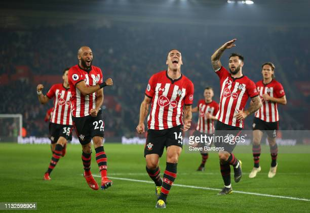 Oriol Romeu of Southampton celebrates his sides first goal during the Premier League match between Southampton FC and Fulham FC at St Mary's Stadium...