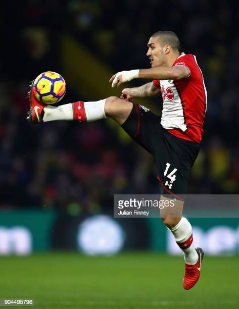 Oriol Romeu of Southampton controls the ball in mid air during the Premier League match between Watford and Southampton at Vicarage Road on January...