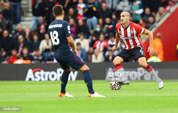 Oriol Romeu of Southampton during the Premier League match between Southampton and Burnley at St Mary's Stadium on October 23, 2021 in Southampton,...