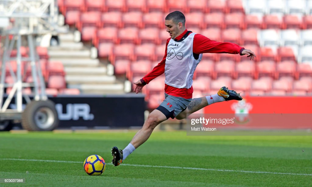 Oriol Romeu of Southampton FC during a training session at St. Mary's Stadium on February 22, 2018 in Southampton, England.
