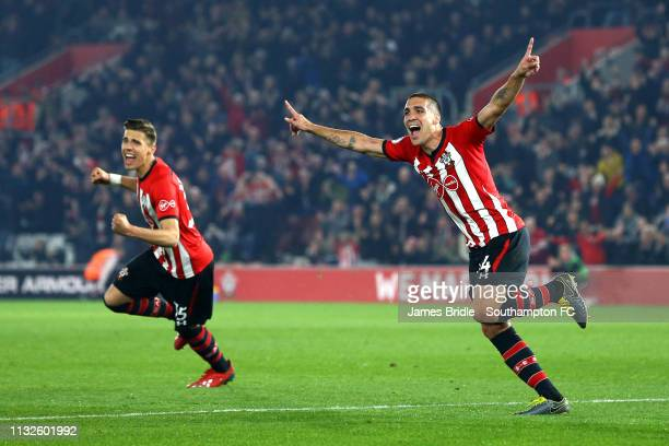 Oriol Romeu of Southampton FC scores Jan Bednarek during the Premier League match between Southampton FC and Fulham FC at St Mary's Stadium on...