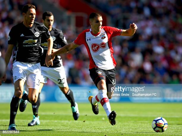 Oriol Romeu of Southampton FC takes on Nemanja Matic of Manchester United during the Premier League match between Southampton and Manchester United...