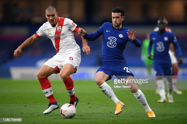 Oriol Romeu of Southampton is challenged by Ben Chilwell of Chelsea during the Premier League match between Chelsea and Southampton at Stamford...