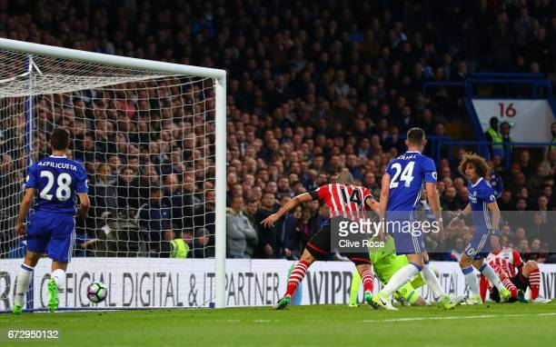 Oriol Romeu of Southampton scores their first goal during the Premier League match between Chelsea and Southampton at Stamford Bridge on April 25...