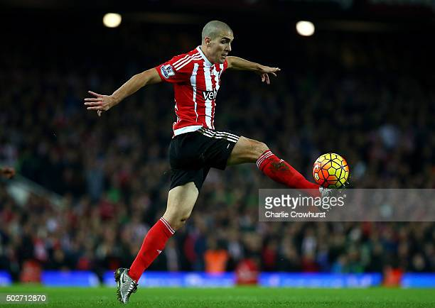 Oriol Romeu of Southampton stretches to control the ball during the Barclays Premier League match between West Ham United and Southampton at the...