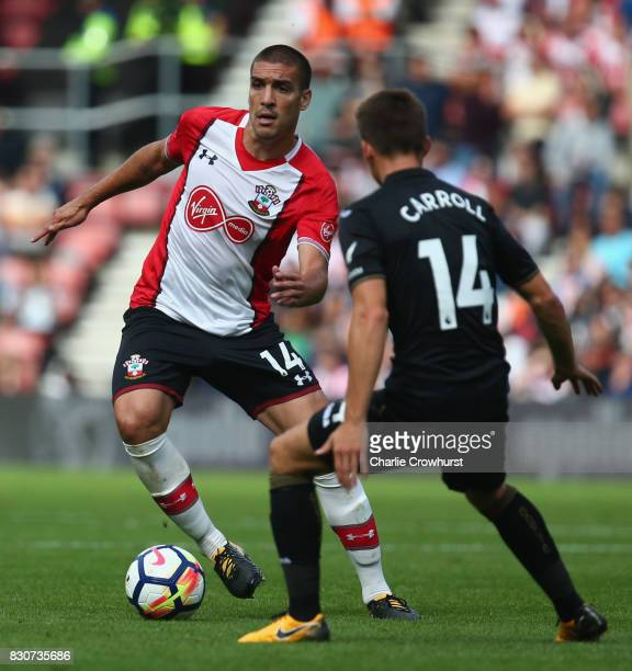 Oriol Romeu of Southampton takes on James McClean of West Bromwich Albion during the Premier League match between Southampton and Swansea City at St...