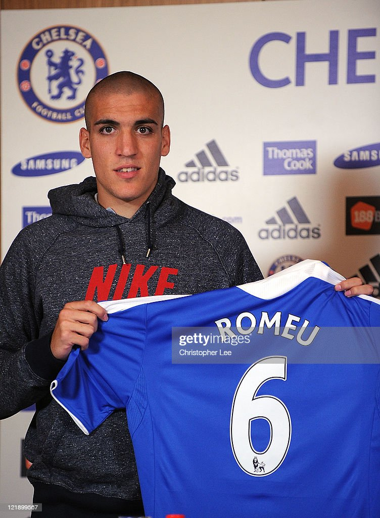 Oriol Romeu poses for the camera during the Chelsea new signings of Oriol Romeu and Romelu Lukaku press conference on August 23, 2011 in Cobham, England.