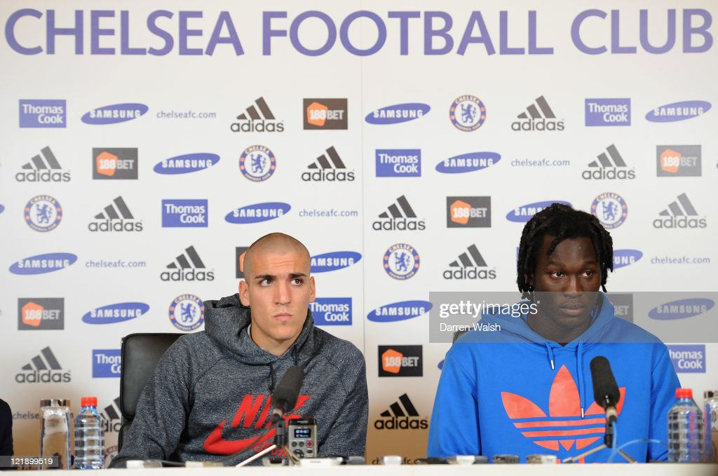 Oriol Romeu, Romelu Lukaku during a press conference at the Cobham training ground on August 23, 2011 in Cobham, England.