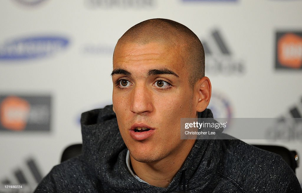 Oriol Romeu talks to the press during the Chelsea new signings of Oriol Romeu and Romelu Lukaku press conference on August 23, 2011 in Cobham, England.