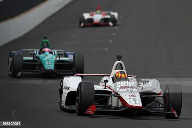 Oriol Servia driver of the Scuderia Corsa Honda races during the 102nd Indianapolis 500 at Indianapolis Motorspeedway on May 27 2018 in Indianapolis...