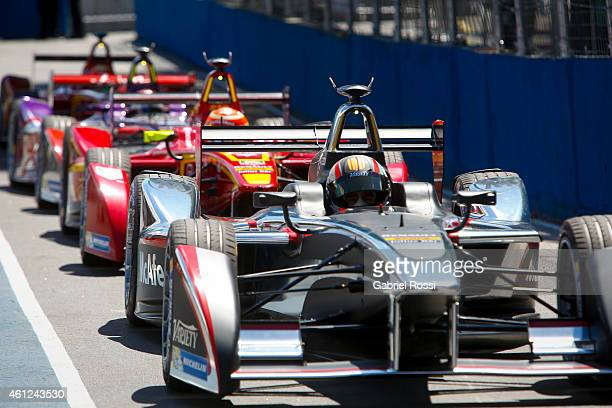 Oriol Servia of Spain and Dragon Racing Formula E Team waits at the pit lane for the second lap during the Formula E Cars Complete Shakedown as part...