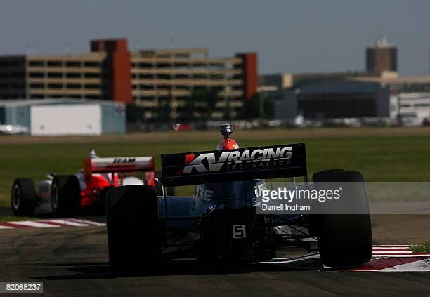 Oriol Sevia driving the KV Racing Dallara Honda chases Ryan Briscoe in the Team Penske Dallara Honda during practice for the IRL IndyCar Series...