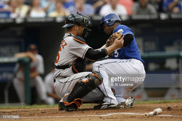 Oriole catcher Ramon Hernandez tags out Esteban German at the plate during action between the Baltimore Orioles and Kansas City Royals at Kauffman...