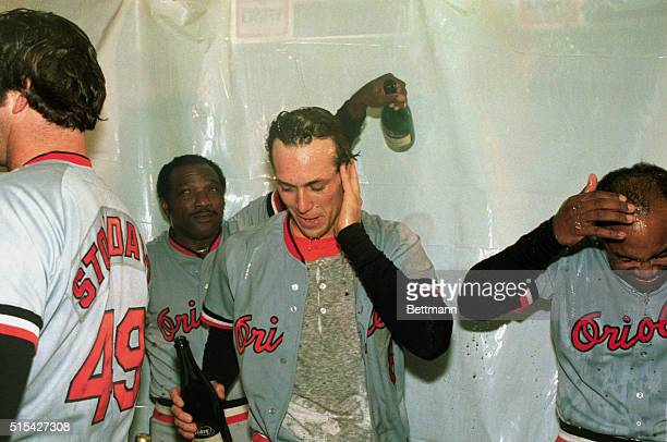 Orioles are shown as they celebrate with champagne after winning the 1983 American League Pennant in the play offs with the Chicago White Sox with 30...