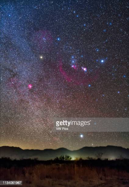 Orion and Sirius rising over the Peloncillo Mountains of southwest New Mexico on a clear night in December in the early evening The Belt stars of...