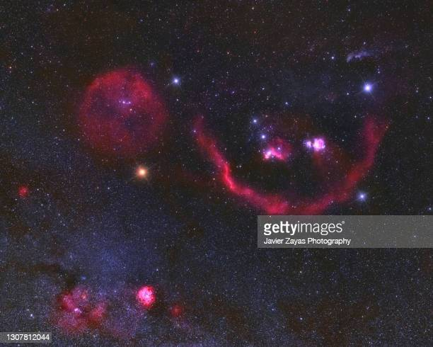 orion constellation wide field image - galaxy stock pictures, royalty-free photos & images